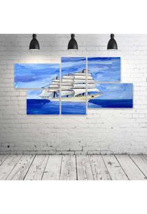 Quadro Decorativo - Barco-Ocean-Blue-(2) - Composto De 5 Quadros - Multicolorido - Dafiti
