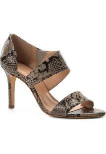 Sandália Couro Shoestock Lopsided Salto Fino Snake Feminina - Feminino-Cinza