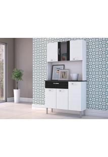 Cozinha 6 Portas E 1 Gaveta Linho Branco/Preto - Lc Móveis