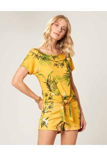Blusa Sustentável Com Amarração Malwee Amarelo - Xgg