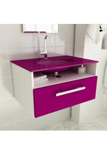 Gabinete 16 Com Pia De Vidro Linea 60 Cm Violeta