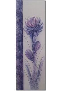 Quadro Artesanal Com Textura Crisantemo Lilás 20X60 Uniart