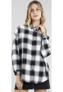 c2cbe3273 Ir para a loja; Camisa Feminina Oversized Em Flanela Estampada Xadrez Manga  Longa Preta
