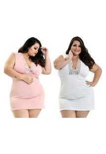 Kit 2 Camisola Plus Size Microfibra Renda Regata Rosê Branco