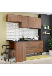 Cozinha Compacta Calábria 6 Portas 3 Gavetas Nogueira/Malt - Multimóveis