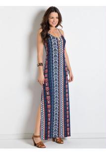 Vestido Longo Com Fendas Étnico