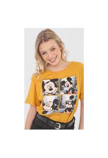 Camiseta Cativa Disney Mickey Wanderlust Amarela