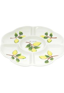 Petisqueira De Cerâmica 5 Divisões Bon Gourmet Lemons 25X2.5Cm