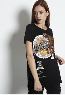 """Camiseta """"Massachusetts""""- Preta & Marrom Claro- My Fmy Favorite Things"""