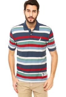 Camisa Polo Nautica Listras Azul/Vermelho
