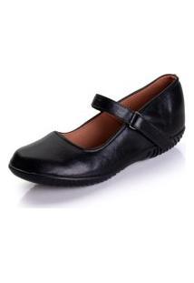 Sapato Sapatilha Boneca Fechado Confort Preto