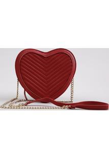 Bolsa Feminina Coração Transversal Pequena Matelassê Vermelha