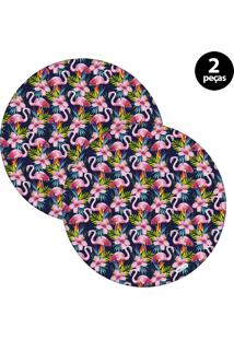 Sousplat Mdecore Flamingo 32X32Cm Azul Marinho 2Pçs