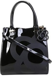 Bolsa Petite Jolie Handbag Verniz Alça Transversal Folder Bag Feminina - Feminino-Preto