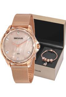 Kit Relógio Seculus Feminino Com Pulseira 77069Lpskrs2K1