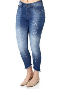 ... Calça Jeans Cropped Feminina Über Azul e5347e751c2ad
