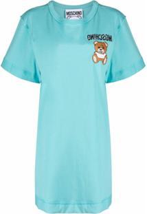 Moschino Vestido Reto Com Logo Bordado - Azul