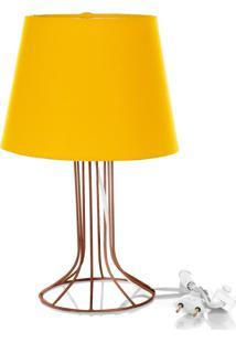 Abajur Torre Dome Amarelo Com Aramado Cobre