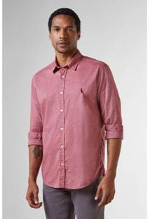 Camisa Reserva Regular Fil A Fil Masculina - Masculino-Bordô