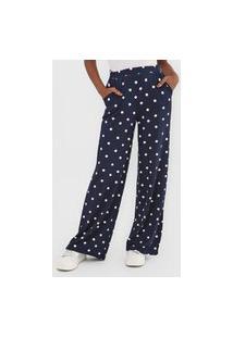 Calça Malwee Pantalona Poá Azul-Marinho