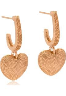 Argola Aberta Le Diamond Com Pingente Coração Dourada - Kanui