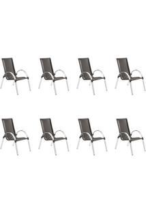 Conjunto Com 8 Cadeiras Driely Marrom
