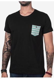 Camiseta Preta Bolso Listrado 102401