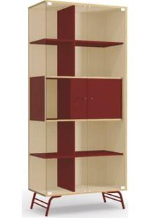 Cristaleira Kappesberg Pop Po601-P2 2 Portas Em Vidro Pine/Marsala Se