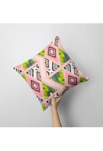 Capa De Almofada Avulsa Decorativa Tropical Geométrico 35X35Cm - Kanui