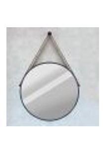 Espelho Modelo Adnet 60Cm Com Acabamento Preto E Alça Caramelo - Htadnet-60