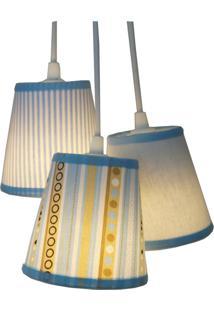 Lustre Pendente Luminária Cacho Listras Crie Casa Tecidos Azul E Bege