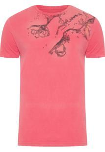 Camiseta Masculina Flores E Jateado - Vermelho