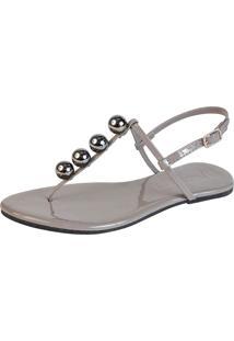 Rasteira Mercedita Shoes Verniz Chumbo Com Bola Onix