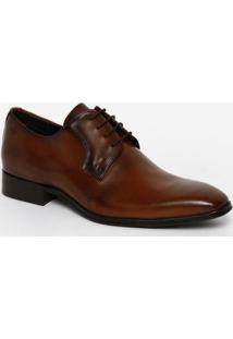 Sapato Social Em Couro Envernizado - Marrom Claro & Pretdudalina