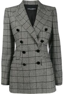 Dolce & Gabbana Blazer Xadrez Com Abotoamento - Preto