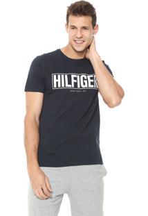 Camiseta Tommy Hilfiger Lettering Azul-Marinho