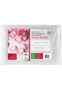 Capa Protetora De Travesseiro Impermeável Matelassê Com Malha Dupla 50X70 Toque De Rosas - Fibrasca