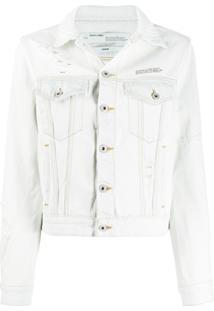 Off-White Distressed Denim Jacket - Azul