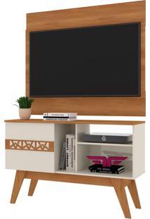 Rack Bancada Com Painel Para Tv Atã© 42 Polegadas Smart Coral/Off White - Frade Movelaria - Coral - Dafiti