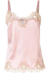 Dolce & Gabbana Blusa Com Acabamento De Renda - Rosa