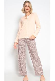 Pijama Manga Longa Aberto & Calã§A Floral- Rosa Claro & Bsonhart