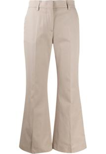 Msgm Cropped Flared Trousers - Neutro