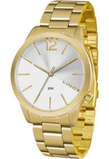 Relógio Lince Feminino Fashion Analógico - Feminino-Dourado