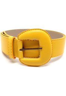 Cinto Birô Médio Fivela Color Feminino - Feminino-Amarelo