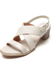 Sandália Comfortflex Verniz Branca