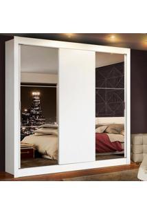 Guarda Roupa Casal Madesa Mônaco 3 Portas De Correr Com Espelhos Branco - Tricae
