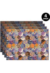 Jogo Americano Mdecore Folhas 40X28 Cm Laranja 4Pçs