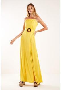 Vestido Longo Dec Quadrado Sacada Feminino - Feminino-Amarelo