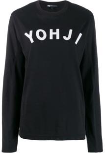 Y-3 Blusa Com Estampa Yohji - Preto