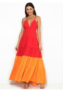 Vestido Longo Bicolor Vermelho E Laranja